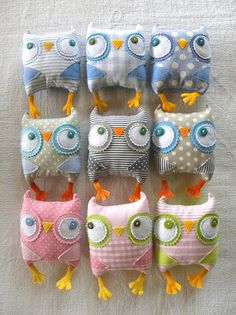 owlies in pink, grey and blue, via Flickr.