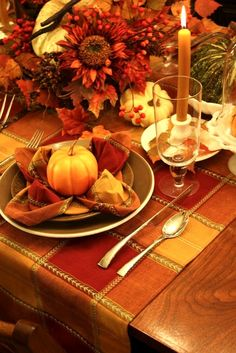 Fall Tablescape ~ Love the napkin fold. holiday, table settings, fall decor, place cards, place set, thanksgiving table, autumn tablescap, tabl set, fall tablescap