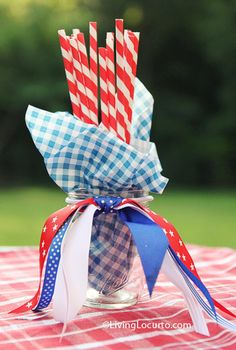 Dollar Decorating Idea - July 4th Party Ideas It would make more sense to put the blue gingham outside the jar though, with the ribbon tied round to hold it.