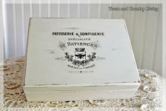 "Love This Distressed ""Faux"" Vintage French Box ! Made so easily by this Essential & easy crafting Tutorial for Cottage Decor !! How to Transfer Graphics with Mod Podge ! Your creative options are endless using this one tutorial ! by @Jenn L Zuri Town And Country Living"