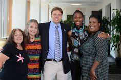 McNair Scholars staff: (L-R) Fran Stark, Sharyn Schelske, Anthony Albecker, Shade Osifuye, Tiffany Richardson. Photo by Patrick O'Leary