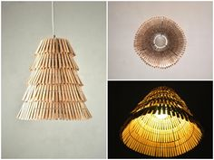 Clothespin pendant lamp #Design, #Lamp, #Recycled, #Upcycled