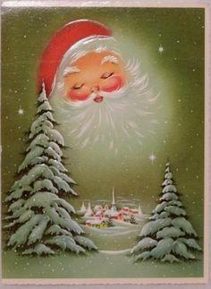 #1632 60s Santa Sleeps in the Night-Vintage Christmas Greeting Card