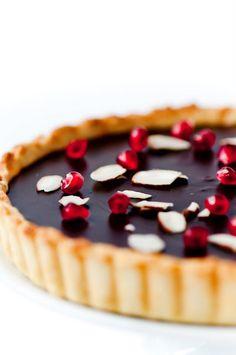 // Orange, Pomegranate & Almond Dark Chocolate Tart