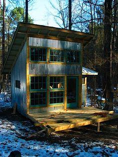 Cool tiny house! Corrugated siding.