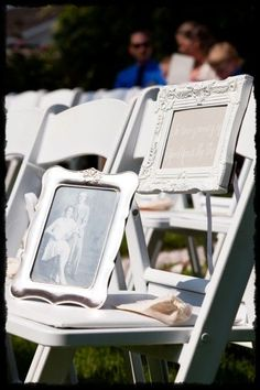 in memory chair wedding ceremony, you could reserve a table at the reception for all of the people attending from heaven. heaven shin, frame, memory chair wedding, memori chair, chairs, romantic weddings, pictur idea, loved one in heaven wedding, heavens