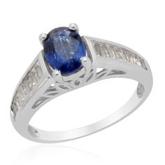 Liquidation Channel - Affordable Himalayan Kyanite (Ovl 1.55 Ct), White Topaz Ring in Platinum Overlay Sterling Silver Nickel Free (Size 7) TGW 2.57 cts.