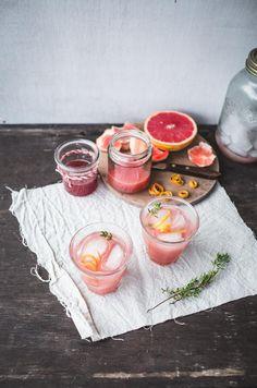 Rhubarb, Grapefruit and Thyme Cocktails - Rhubarb-Grapefruit Syrup (Recipe), Vodka, Grapefruit Juice.