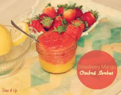 YUMMMMMMM! Strawberry Mango Ombré Sorbet // frozen mango, frozen strawberries, coconut water, lemon via Tone It Up #snackattack #healthy