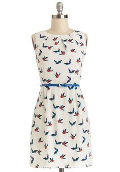 Best Flock Forward Dress - Cream, Multi, Print with Animals, Belted, Casual, Critters, A-line, Good, Crew, Chiffon, Sheer, Woven, Short, Poc...