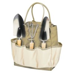 Picnic Time Garden Tote Large-Tan /Cream with 3 Pc Tools
