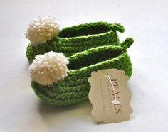 Green & White Pom Pom Fairy Baby Shoes   infant by peacesbycortney