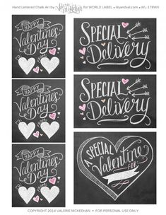 Free Printable Hand Drawn Chalk Art Valentines Day labels