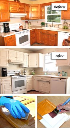 """Kitchen Cabinet Makeover from HGTV using """"Creamy"""" from Sherwin Williams Rustic Refined Color Palette."""