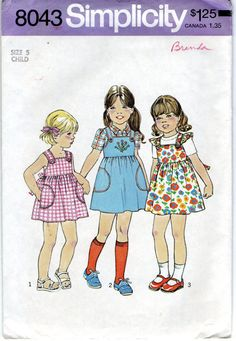 Simplicity 8043 1970s Girls Dress  or Jumper Pattern childs vintage sewing pattern by mbchills