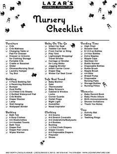 babies stuff, nurseri checklist, baby checklist, check lists, babies nursery, nursery checklist, registri checklist, baby showers, babies rooms