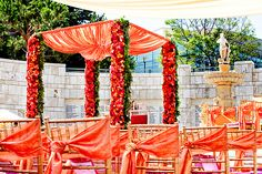 love the colors for this outdoor Indian wedding. Wedding decor. Mandap design.