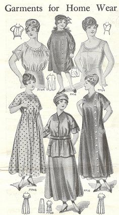 Garments for Home Wear (for ladies and children), 1916. #vintage #Edwardian #fashion