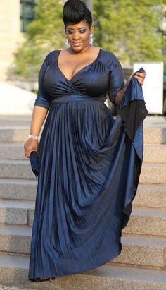 Plus Size beauty in long blue dress