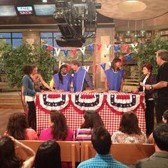 Hosts prepping for our Pie Eating Contest NOW on #TheTalk!! Who r u cheering 4?