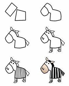 step by step how to draw a zebra