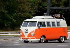 VW Bus in orange & cream