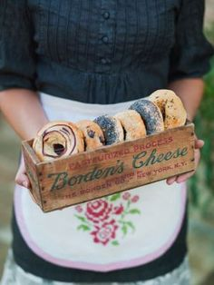 Yummy pretzels served on a vintage box of Borden's Cheese.