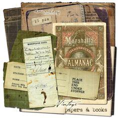 Vintage Digital Paper Elements Collection 1