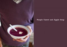 Using bright, fun, colors in cooking has helped our little ones try things they normally wouldn't. Purple Carrot and Apple Soup   A Thought For Food