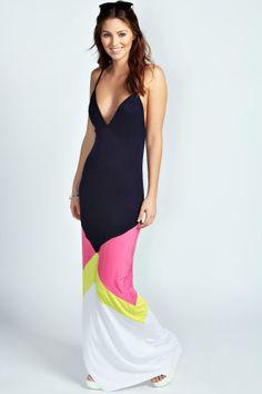 Josie Colour Block Strappy Maxi Dress