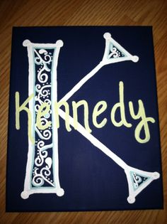 painted canvas initial and name