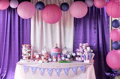 pink and purple birthday party decor - dessert tables, 4th birthday, birthday parties, birthday idea, first birthdays, birthday party decorations, doc mcstuffin, purple party, parti idea