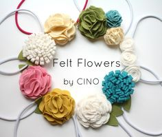 Felt flowers by Craftiness Is Not Optional tutorials, craft, hair clips, flower headbands, bow, flower tutorial, diy, flower hair, felt flowers