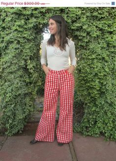 AMAZING 60s Bell Bottom Levi's Big E Red Gingham Pants