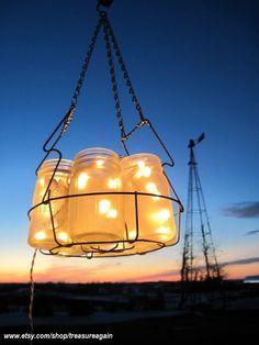 idea: frosted jar hanging lights