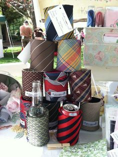 Coozie made with upcycled ties! Love this for a stocking stuffer!