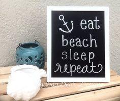 Eat, Sleep, Beach, Repeat Chalkboard Art, Summer Chalkboard Art, Summer, anchor, Nautical, Wall Art, Beach decor, handmade wall art