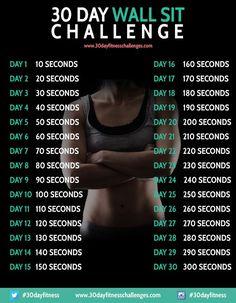 30 Day Wall Sit Challenge Fitness Workout Chart #fitness #workout #wallsit #challenge