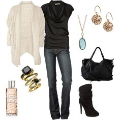 Lovely! jean, boot, fashion ideas, date outfits, black white, white outfits, comfy casual, shoe, shirt