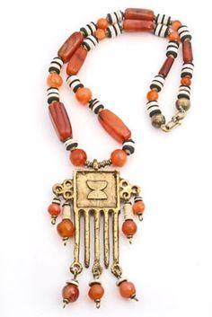 African Carnelian Brass Pendant Necklace.