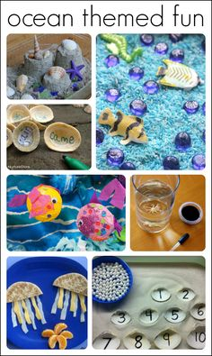 35 fun ideas for an ocean theme!  Includes ideas for arts and crafts, math, science, sensory, play doughs, literacy, and snacks!