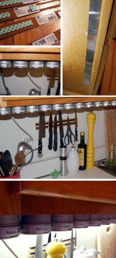 cabinets, idea, spice jars, organ, magnet spice, kitchen, spice racks, spice storage, spices
