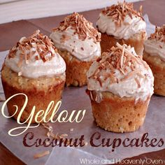 Yellow Coconut Cupcakes With Cream Cheese Frosting--- Need an impressive dessert for your next party? Put down that boxed yellow cake mix and instead, whip up these super-moist yellow coconut cupcakes that have an impressive cream cheese frosting and lots of toasted coconut on top! at wholeandheavenlyoven.com
