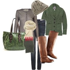 green fall fashions, fall clothes, style, fall outfits, riding boots, fall sweaters, brown boots