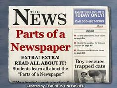 $  Parts of a Newspaper PowerPoint Lesson and Test Prep.  By Teachers Unleashed