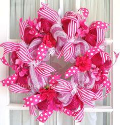Hot Pink Stripe Summer Mesh Wreath