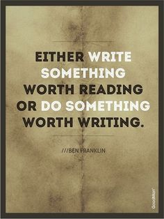Love this quote from Benjamin Franklin!