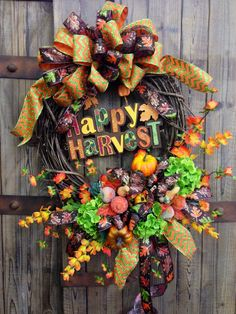 Happy Harvest Grapevine Wreath on Etsy, $75.00
