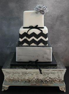 Black and Grey chevron cake by La Fabrik à Gateaux!