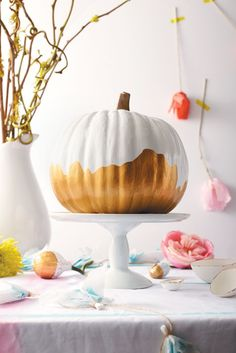 gold leaf white pumpkin